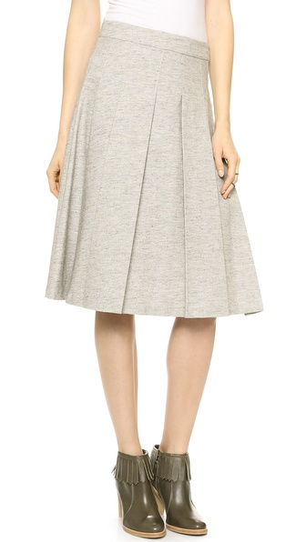 10 Crosby Derek Lam Box Pleat Tea Length Skirt