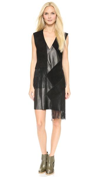 10 Crosby Derek Lam V Neck Leather Dress with Fringe