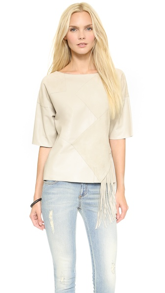 10 Crosby Derek Lam Leather Top with Fringe