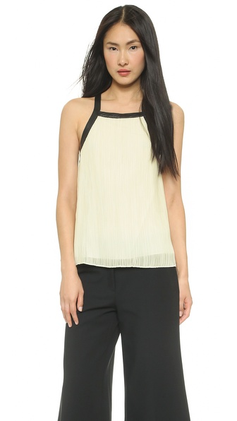 Derek Lam 10 Crosby Cross Back Top with Leather Trim