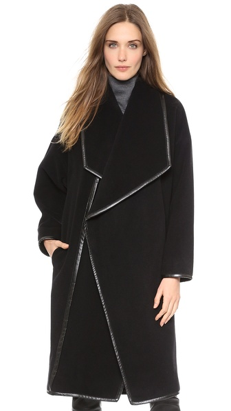 10 Crosby Derek Lam Wrap Coat with Faux Leather Binding