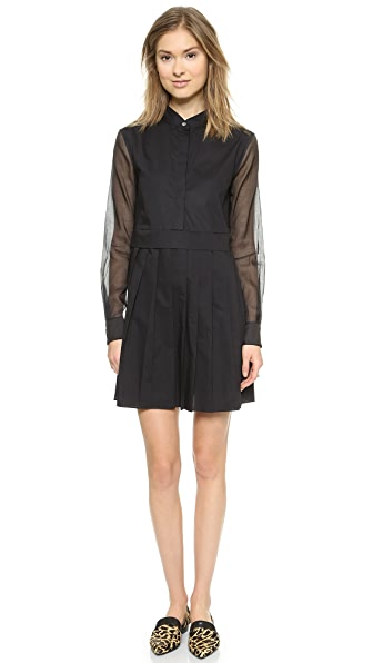 Kupi Derek Lam 10 Crosby haljinu online i raspordaja za kupiti Derek Lam 10 Crosby Shirtdress With Pleated Skirt Black online