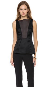 Cedric Charlier Sleeveless Satin Blouse