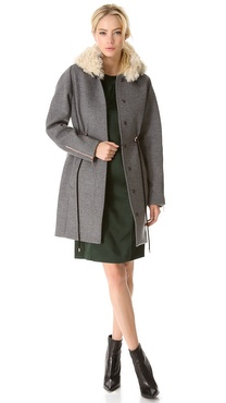 Cedric Charlier Hooded Fur Coat with Drawstrings