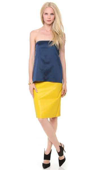 Cedric Charlier Strapless Two Tone Dress