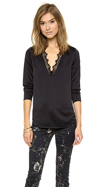 Cooper & Ella Ella V Neck Lace Trim Blouse