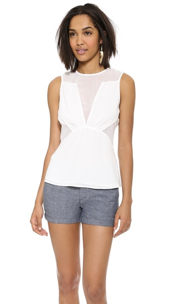 Cooper & Ella Lauren Sheer Panel Blouse
