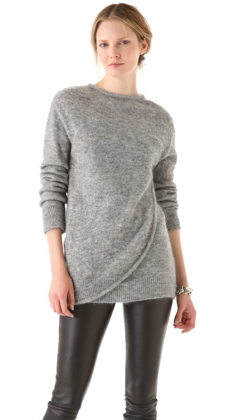 Chalayan Grey Line Wrap Sweater