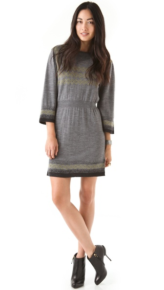 Chalayan Grey Line Intarsia Dress