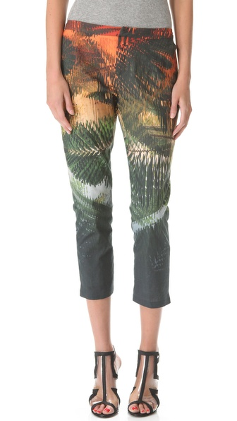 Chalayan Grey Line Cropped Slim Pants
