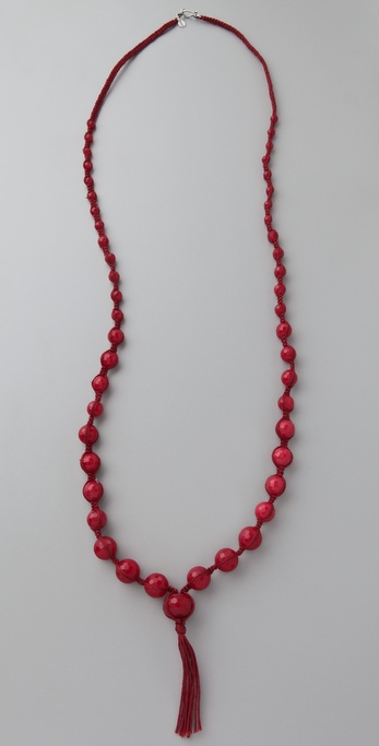 Chan Luu Deep Red Tassel Necklace