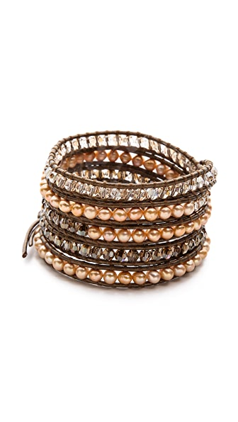 Chan Luu Imitation Pearl Beaded Wrap Bracelet