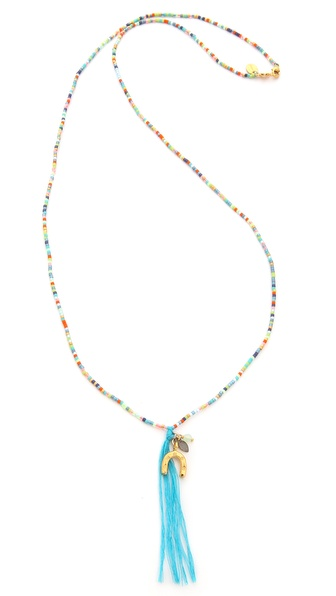Chan Luu Beaded Tassel Charm Necklace