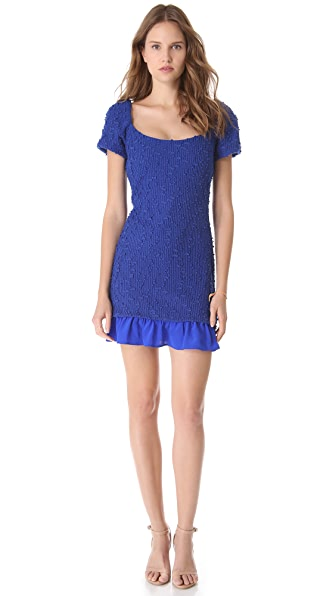 Charles Henry Ruffle Hem Boucle Dress