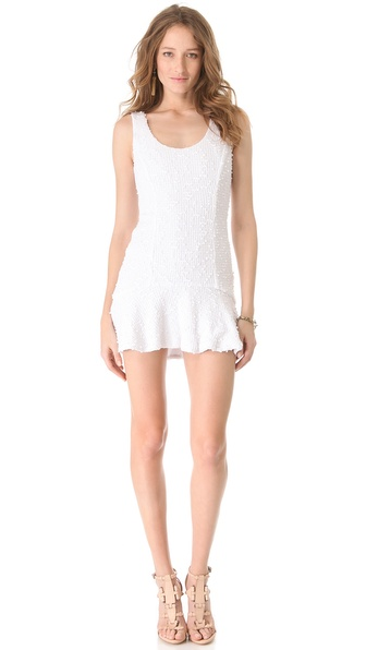 Charles Henry Flutter Hem Boucle Dress