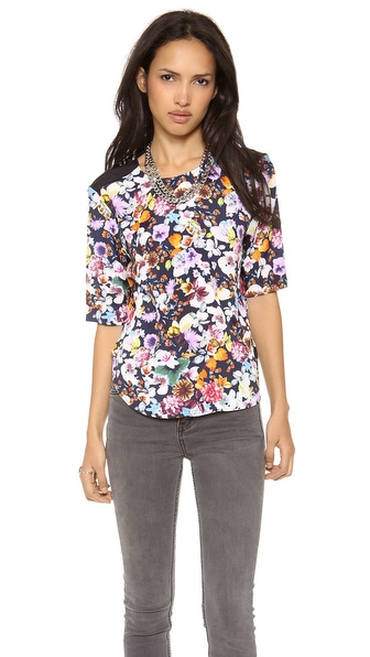 Charles Henry Contrast Blouse