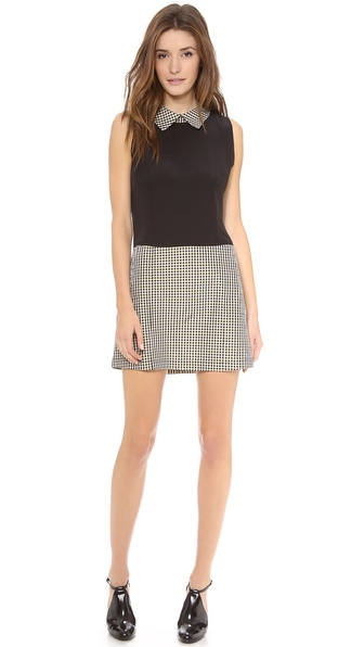 Charles Henry Collared Colorblock Dress