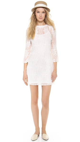 Charles Henry Embroidered Bell Sleeve Dress