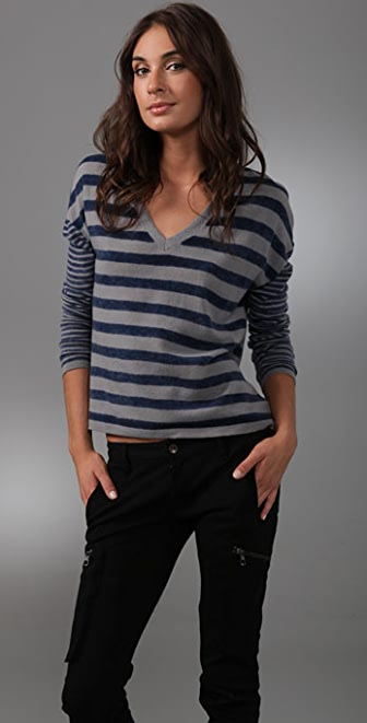 Charlotte Ronson V Neck Striped Sweater