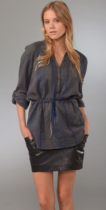 Charlotte Ronson Drop Waist Pleated Tunic