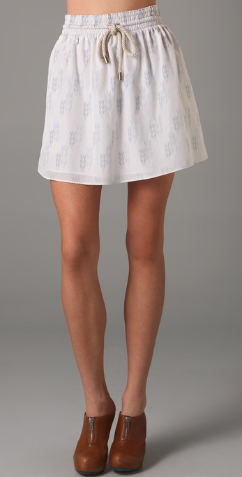 Charlotte Ronson Elastic Waistband Skirt with Rope Tie