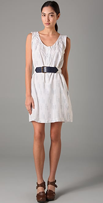 Charlotte Ronson Scoop Neck Belted Dress