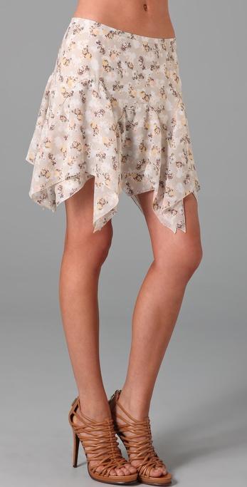 Charlotte Ronson Floral Ruffle Hem Skirt