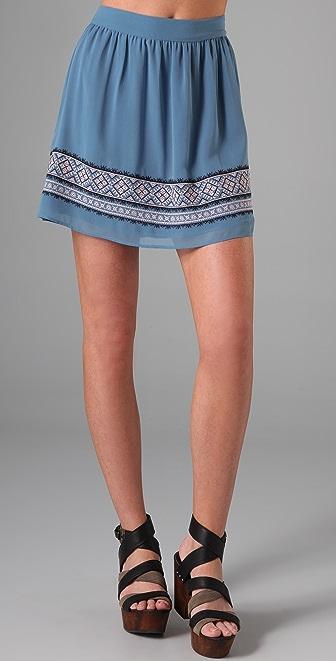 Charlotte Ronson Embroidered Full Skirt