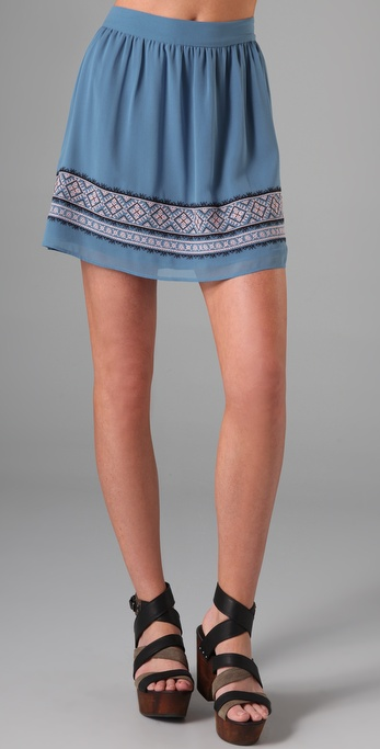 Charlotte Ronson Embroidered Full Skirt