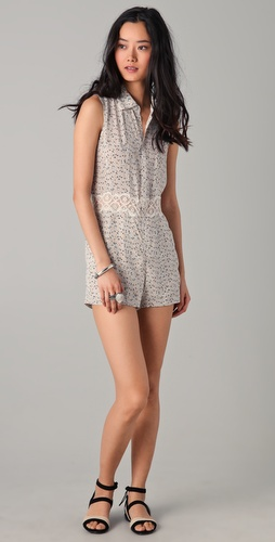 Charlotte Ronson Floral Button Front Romper