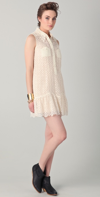 Charlotte Ronson Drop Waist Lace Dress