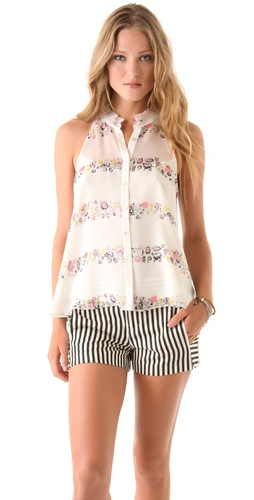 Charlotte Ronson Floral Halter Blouse