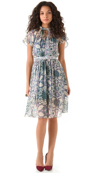 Charlotte Ronson Floral Dress with Flutter Sleeves