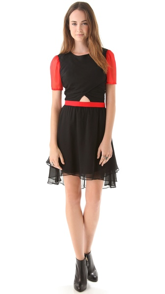 Charlotte Ronson Cutout Dress with High Low Hem