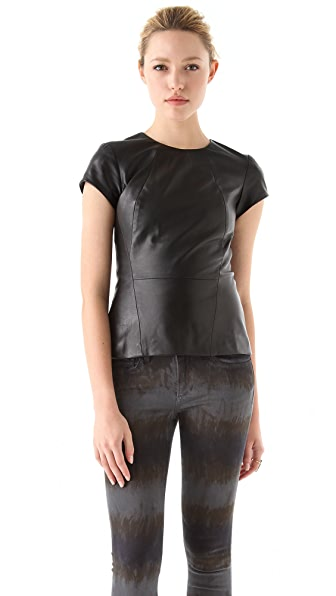 Charlotte Ronson Lambskin Leather Top