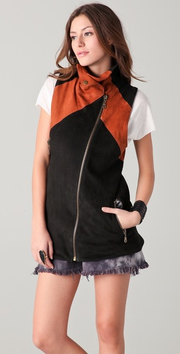 Chaser Colorblock Leather Vest