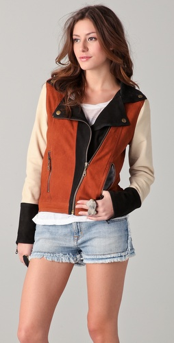 Chaser Colorblock Leather Moto Jacket