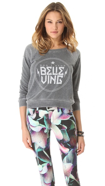 Chaser Don't Stop Believing Raglan Top