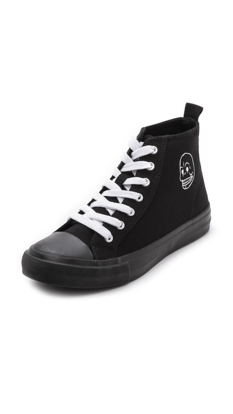 Shop Cheap Monday online and buy Cheap Monday Base High Top Sneakers - Black - Canvas Cheap Monday high top sneakers styled with a lace up closure. A logo skull adds a graphic touch. Rubber sidewall and sole. Imported, China. This item cannot be gift boxed. Available sizes: 37,38,39,40