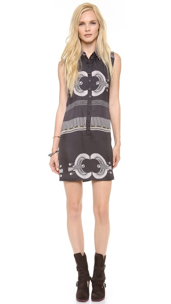 Chloe Sevigny for Opening Ceremony Hawk Print Flare Dress