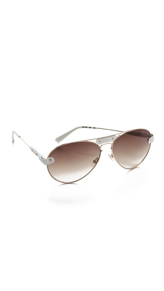 Chloe Oversized Tamaris Aviator Sunglasses with Leather Trim