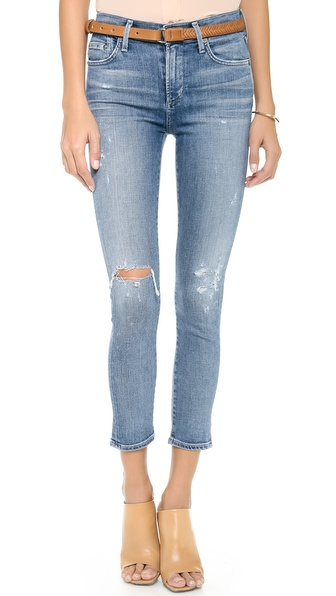 Citizens Of Humanity Crop Rocket High Rise Jeans - Distressed Fizzle at Shopbop / East Dane