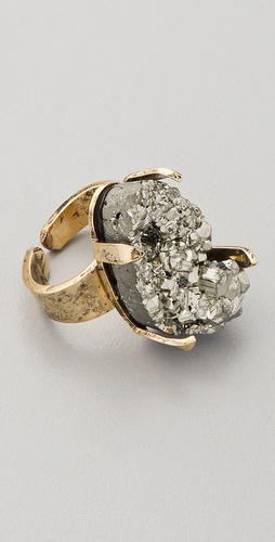 Citrine by the Stones Pyrite Pinky Ring