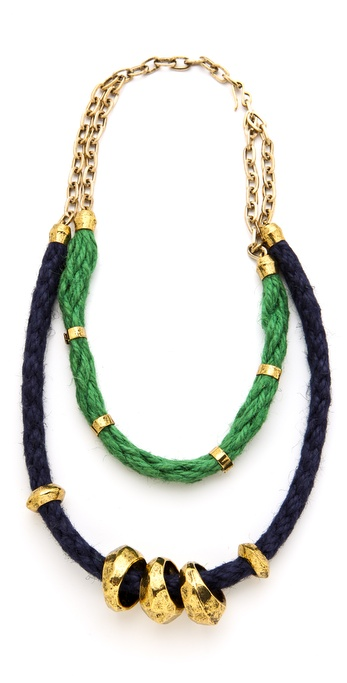 Citrine by the Stones Green & Blue Double Hemp Necklace