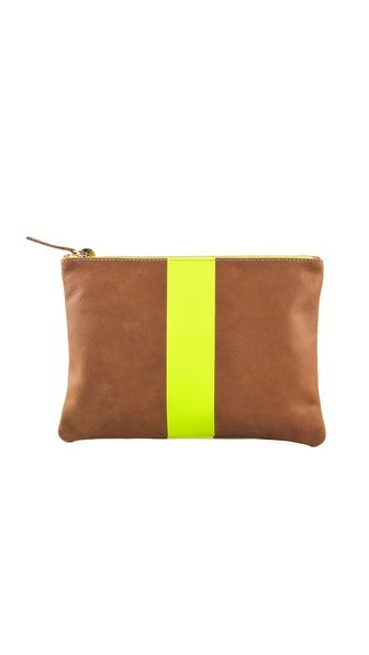 CLARE VIVIER Neon Stripe Flat Clutch