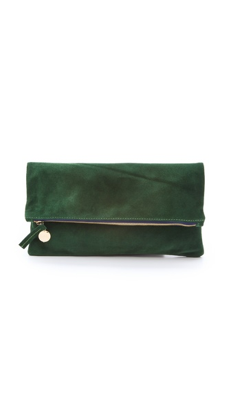 CLARE VIVIER Fold Over Suede Clutch