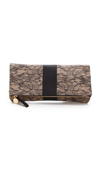 CLARE VIVIER Lace Fold Over Clutch