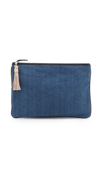 CLARE VIVIER Oversized Denim Clutch with Tassels