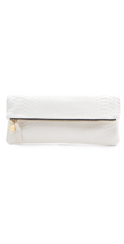 CLARE VIVIER Snake Print Flat Clutch