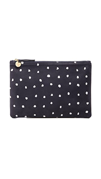 Clare V. Flat Clutch with Cream Dots